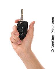elszigetelt, autó, kéz, kulcs