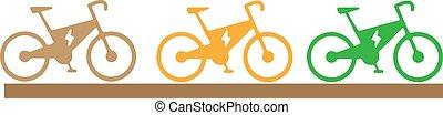 elszigetelt, bicikli, fehér, elektromos, ikon, háttér