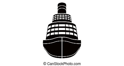 elszigetelt, cirkálás, elülső, hajó, kilátás, ikon