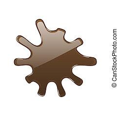 elszigetelt, csokoládé, csípős, háttér, fehér, folt