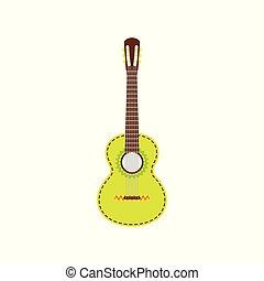 elszigetelt, fény, guitar., háttér., vektor, ábra, fehér, mexikói, zöld