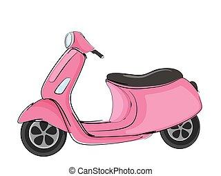 elszigetelt, fehér, rózsaszínű, kéz, háttér., illustration., roller, húzott, vektor, mód