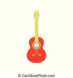elszigetelt, guitar., piros, háttér., vektor, ábra, fehér, mexikói
