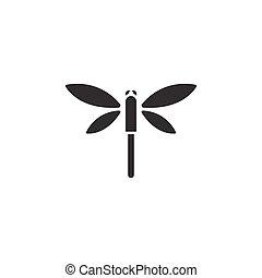 elszigetelt, icon., dragonfly., ábra, vektor, glyph