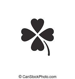 elszigetelt, icon., vektor, ábra, clover., glyph