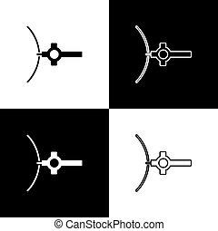 elszigetelt, ikon, állhatatos, fekete, lánc, kereszt, fehér, templom, keresztény, vektor, háttér., cross., ábra