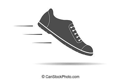 elszigetelt, ikon, white cipő, árnykép, tervezés, modern, lakás, háttér
