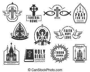 elszigetelt, ikonok, keresztény, set., vektor, vallás