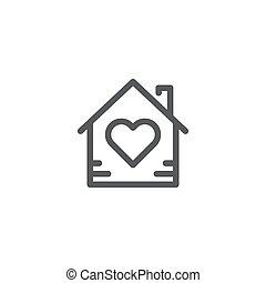 elszigetelt, jelkép, épület icon, vektor, white háttér, szív