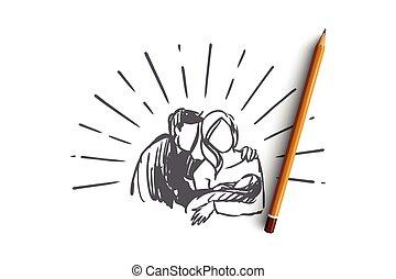 elszigetelt, kéz, boldog, gyermek, concept., atya, anya, vector., újszülött, húzott