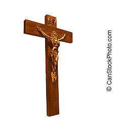 elszigetelt, krisztus, fejtető, jézus, arany, kereszt, tövis, szobor