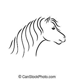 elszigetelt, ló, rajz, skicc, vektor, háttér, kéz, ábra, fehér, póni