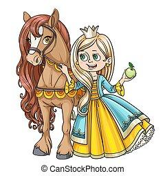 elszigetelt, ló, white háttér, gyönyörű, hercegnő