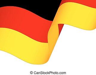 elszigetelt, lenget lobogó, németország, háttér, fehér