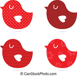 (, elszigetelt, madarak, állhatatos, vektor, piros, ), fehér