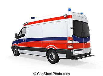 elszigetelt, mentőautó