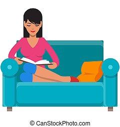 elszigetelt, olvasókönyv, pamlag, otthon, vektor, nő, fehér