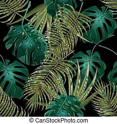 elszigetelt, pattern., leaves., ábra, thickets, tropikus, háttér., pálma, seamless, virágos, fekete, dzsungel