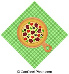 elszigetelt, pizza, ikon, vektor, fehér