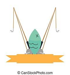 elszigetelt, rúd, halászat, ikon