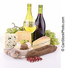 elszigetelt, sajt, kolbász, bor
