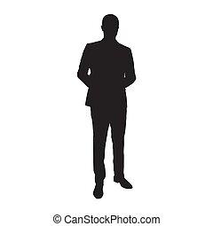 elszigetelt, silhouette., vektor, illeszt, üzletember, ember