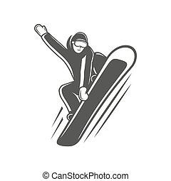 elszigetelt, snowboarder, white háttér