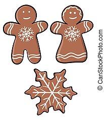 elszigetelt, snowflake., nő, háttér., állhatatos, újév, set:, fehér, számolás, karácsony, vektor, gyömbéres mézeskalács, fedő, karikatúra, üvegmáz, férfiak, vidám
