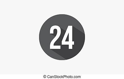 elszigetelt, szám, árnyék, 24, háttér., fehér