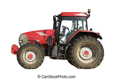 elszigetelt, traktor, piros