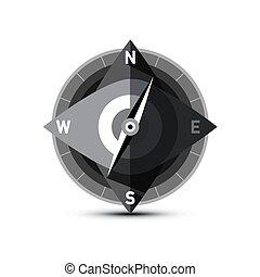 elszigetelt, vektor, háttér, iránytű, fehér, ikon