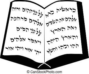 elszigetelt, vektor, tabletta, torah., ábra, háttér., moses., hebrew., zsidó, bible.