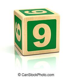eltöm, fából való, szám 9, 9, betűtípus