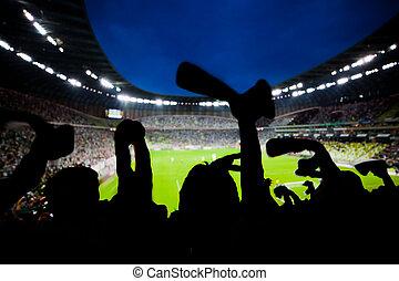 eltart, labdarúgás, -eik, rajongó, befog, futball, ünnepel