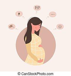eltart, questions., leány, kap, terhes, doubts., terhesség, család, ábra, aggódó, anya, mód, fiatal, help., karikatúra, igények, assistance., sajnálatos woman, lélektani, sok, vektor