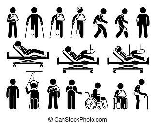 eltart, termékek, kár, esedékes, ortopédia, fáj, test, accident., orvosi