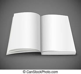 elterjed, könyv, tiszta, fehér, nyílik, apródok