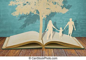 elvág, öreg, család, jelkép, fa, dolgozat, alatt, könyv