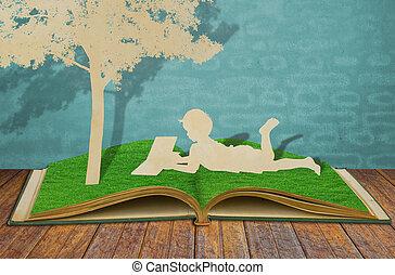 elvág, öreg, olvas, fa, gyerekek, dolgozat, alatt, könyv