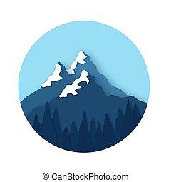 elvág, hegy, karika, peaks., frame., táj, style., forest., hó, dolgozat