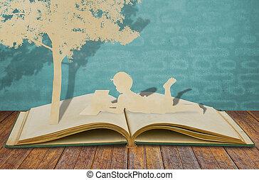 elvág, könyv, dolgozat, gyerekek, olvas