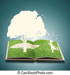 elvág, könyv, játék, dolgozat, fű, gyerekek
