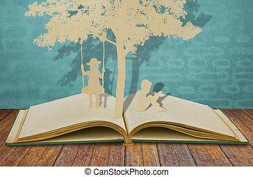 elvág, olvas, hinta, fa, gyerekek, dolgozat, alatt, könyv