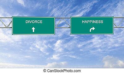 elválás, boldogság, út cégtábla