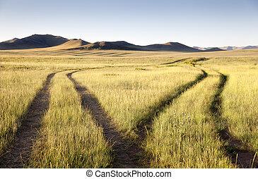 elválaszt, gobi, két, mongólia, közútak, desert., találkozik