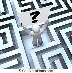 elveszett, labirintus, kérdez, aláír, személy, birtok, útvesztő, megjelöl