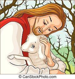 elveszett, pásztor, portré, példabeszéd, tövis, sheep., történelem, kiszabadítás, bárány, christ., jézus, elkapott, jó