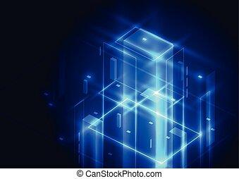 elvont, ábra, háttér., vektor, digital technology, futuristic