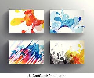 elvont, állhatatos, színes, kártya.