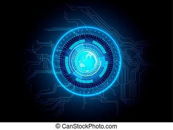 elvont, áramkör, technológia, kék, háttér.